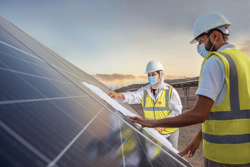 Usina solar Qabas, de propriedade da Shell e localizada no Omã (Créditos: Shell/Haitham Al Farsi)